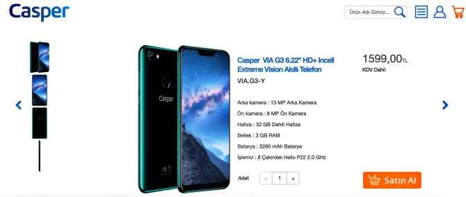 Casper VIA G3 satış fiyatı 1.599 TL